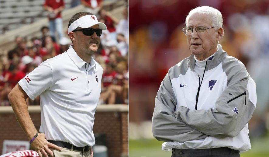 FILE - At left, in a Sept. 2, 2017, file photo, Oklahoma head coach Lincoln Riley watches from the sideline before an NCAA college football game against UTEP in Norman, Okla. At right, in an Oct. 26, 2016, file photo, Kansas State head coach Bill Snyder watches from the sideline before an NCAA college football game against Iowa State, in Ames, Iowa. The oldest coach in the FBS and the youngest will match wits Saturday when the ninth-ranked Sooners travel to Manhattan. (AP Photo/File)