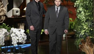 "In this Oct. 17, 2017, photo released by Warner Bros., Stephen Schuck, left, and Jesus Campos appear at a taping of ""The Ellen DeGeneres Show"" at the Warner Bros. lot in Burbank, Calif. Schuck, a building engineer, and Campos, a security guard, were working at the Mandalay Bay Resort and Casino the night of the mass shooting on Oct. 1. Campos was shot by gunman Stephen Paddock. The show airs on Wednesday. (Photo by Michael Rozman/Warner Bros.)"