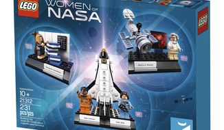 This image provided by LEGO shows their Women of NASA set. The set features Sally Ride, the first female astronaut, and Mae Jemison, the first black woman to travel in space and goes on sale Nov. 1, 2017. (LEGO via AP)