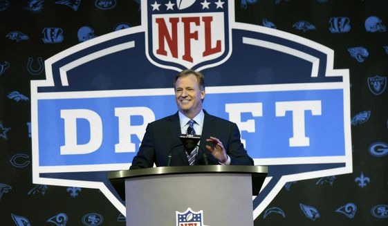 FILE - In this April 28, 2016, file photo, NFL Commissioner Roger Goodell opens the NFL football draft in Chicago. The NFL draft is headed for Dallas. The Cowboys will host the 2018 draft in April. Virtually every NFL city, plus the Pro Football Hall of Fame site in Canton, Ohio, has expressed interest in holding the draft now that the league moves it around. (AP Photo/Matt Marton, File) **FILE**
