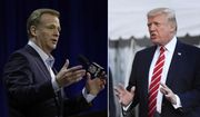At left, in a Feb. 1, 2017, file photo, NFL Commissioner Roger Goodell answers questions during a news conference for the Super Bowl 51 football game, in Houston. At right, in an Oct. 7, 2017, file photo, President Donald Trump speaks to reporters at the White House in Washington. On April 4, 2020, Mr. Trump spoke by phone with Mr. Goodell and the league commissiners of the NBA and MLB, among others, about the ongoing coronavirus pandemic and its impact on professional spectator sports. (AP Photo/File) **FILE**