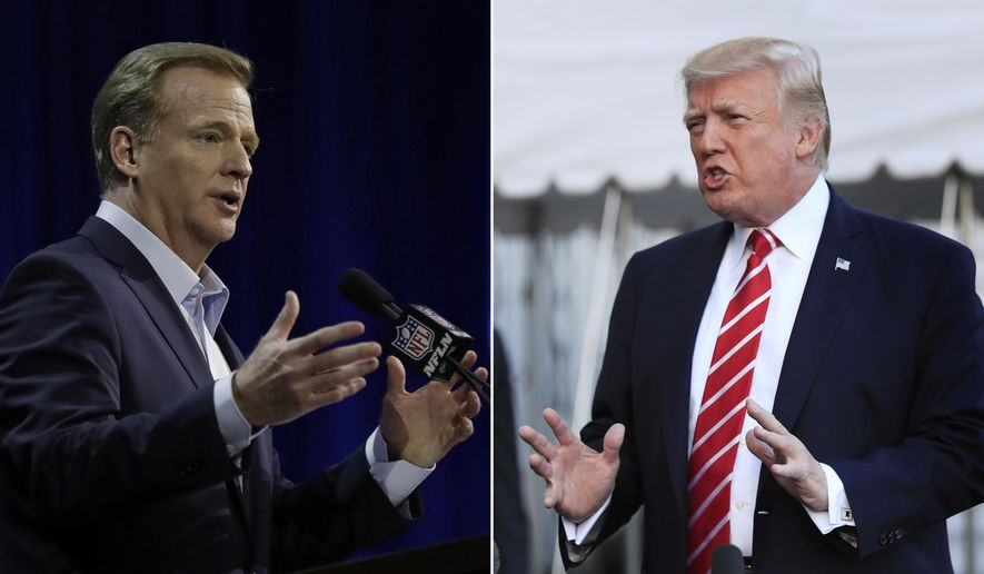 """FILE - At left, in a Feb. 1, 2017, file photo, NFL Commissioner Roger Goodell answers questions during a news conference for the Super Bowl 51 football game, in Houston. At right, in an Oct. 7, 2017, file photo, President Donald Trump speaks to reporters at the White House in Washington. President Donald Trump is again criticizing the NFL over players kneeling during the national anthem. Trump said on Twitter Wednesday, Oct. 18, 2017, that the """"NFL has decided that it will not force players to stand for the playing of our National Anthem."""" He adds: """"Total disrespect for our great country!"""" (AP Photo/File)"""