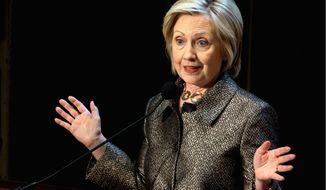 Democratic presidential candidate Hillary Rodham Clinton speaks before presenting The Hillary Rodham Clinton Awards for Advancing Women in Peace and Security, in the Riggs Library at Georgetown University in Washington, Wednesday, April 22, 2015. (AP Photo/Jacquelyn Martin)