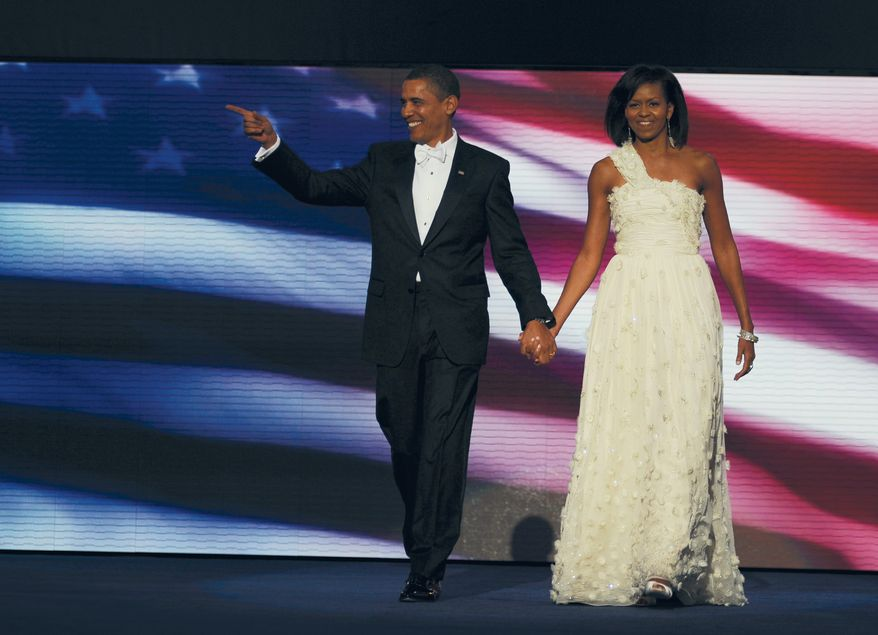 President Barack Obama and First Lady Michelle Obama attend the Neighborhood Inaugural Ball at the Washington Convention Center in Washington, DC. Tuesday, January 20, 2009  (Mary F. Calvert / The Washington Times)