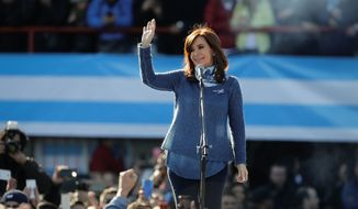 Argentina's former President Cristina Fernandez campaigns for a Senate seat in Buenos Aires. (Associated Press)