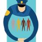Illustration on police and minorities by Linas Garsys/The Washington Times