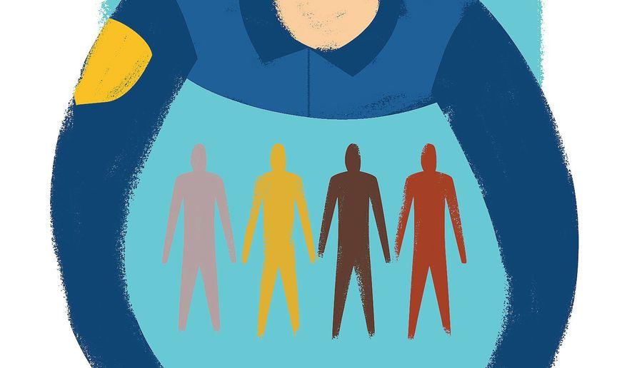 Illustration on police and minorities by Linas Garsys/The Washington Times