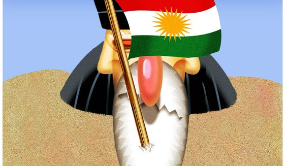 Illustration on the strategic importance of an independent Kurdistan by Alexander Hunter/The Washington Times