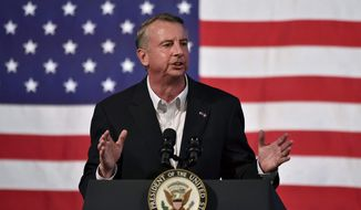 Virginia Republican gubernatorial candidate Ed Gillespie speaks at a campaign rally at the Washington County Fairgrounds, Saturday, Oct. 14, 2017, in Abingdon, Va. (Andre Teague/The Bristol Herald-Courier via AP) ** FILE **