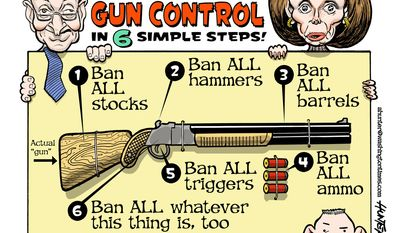 Chuck and Nancy's Common-Sense Gun Control (Illustration by Alexander Hunter for The Washington Times)