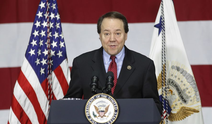Rep. Pat Tiberi, Ohio Republican, speaks before Vice President Mike Pence at DynaLab, Inc., in Reynoldsburg, Ohio, on April 1, 2017. (Associated Press) **FILE**