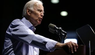 Former Vice President Joe Biden delivers remarks regarding sexual violence on college campuses during a visit to Rutgers University, Thursday, Oct. 12, 2017, in New Brunswick, N.J. (AP Photo/Julio Cortez)