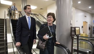 Sen. Tom Cotton, R-Ark., left, and Sen. Susan Collins, R-Maine, arrive for votes at the Capitol in Washington, Thursday, Oct. 19, 2017. (AP Photo/J. Scott Applewhite) ** FILE **
