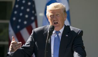 In this Oct. 17, 2017, photo, President Donald Trump speaks during a news conference in the Rose Garden of the White House in Washington. (AP Photo/Carolyn Kaster)