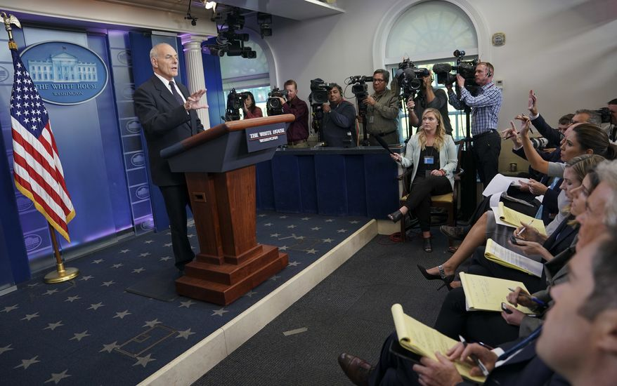 White House Chief of Staff John Kelly speaks to the media during the daily briefing in the Brady Press Briefing Room of the White House in Washington, Thursday, Oct. 19, 2017. (AP Photo/Pablo Martinez Monsivais)