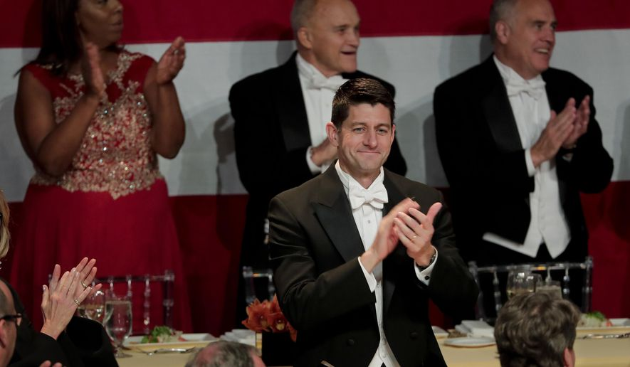 Speaker of the House Paul Ryan applauds as attendees to the 72nd Annual Alfred E. Smith Memorial Foundation dinner are announced Thursday, Oct. 19, 2017, in New York. (AP Photo/Julie Jacobson)