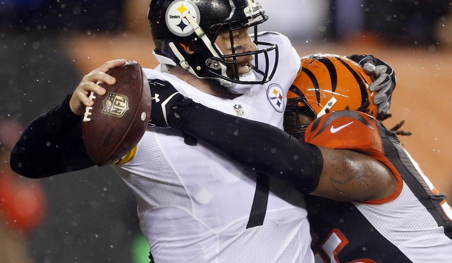 FILE - In this Jan. 9, 2016, file photo, Pittsburgh Steelers' Ben Roethlisberger (7) is sacked by Cincinnati Bengals' Vontaze Burfict (55) during the second half of an NFL wild-card playoff football game, in Cincinnati. The Bengals return from their bye with the toughest stretch of their schedule right down the road. They play four of the next five away from home, starting with a pivotal game in Pittsburgh on Sunday. (AP Photo/Gary Landers, File)