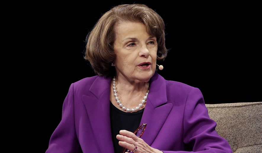 In this Aug. 29, 2017, file photo, Sen. Dianne Feinstein, D-Calif., speaks at the Commonwealth Club in San Francisco. (AP Photo/Jeff Chiu, File)