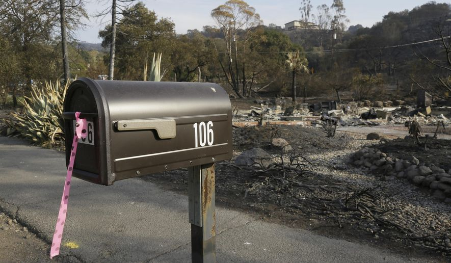 FILE - In this Oct. 16, 2017 file photo, a mailbox, one of few items left at the site of the destroyed home in Napa, Calif., where Sara and Charles Rippey died in a fast-moving wildfire, shows a pink and black polka dot ribbon that indicates a fire crew has visited the location. The vast majority of those who died in the Northern California wildfires were in their 70s and 80s including several couples who died together. (AP Photo/Eric Risberg)