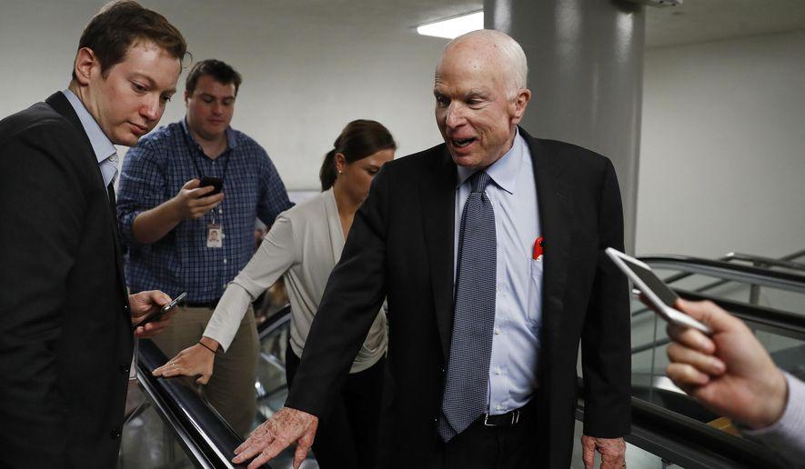 Sen. John McCain, R-Ariz., talks to reporters on Capitol Hill in Washington, Wednesday, Oct. 18, 2017. (AP Photo/Carolyn Kaster)