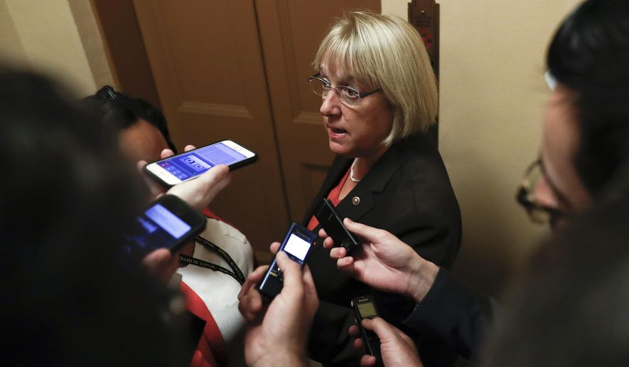 Sen. Patty Murray, D-Wash., the ranking member of the Senate Health, Education, Labor, and Pensions Committee, talks to reporters on Capitol Hill in Washington, Wednesday, Oct. 18, 2017. (AP Photo/Carolyn Kaster)