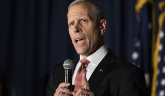 Candidate Paul Mango, seeking the Republican Party's nomination to challenge Democratic Gov. Tom Wolf's re-election bid next year, speaks at the Montgomery County Republican Committee gubernatorial forum in Blue Bell, Pa., Thursday, Oct. 19, 2017. (AP Photo/Matt Rourke)