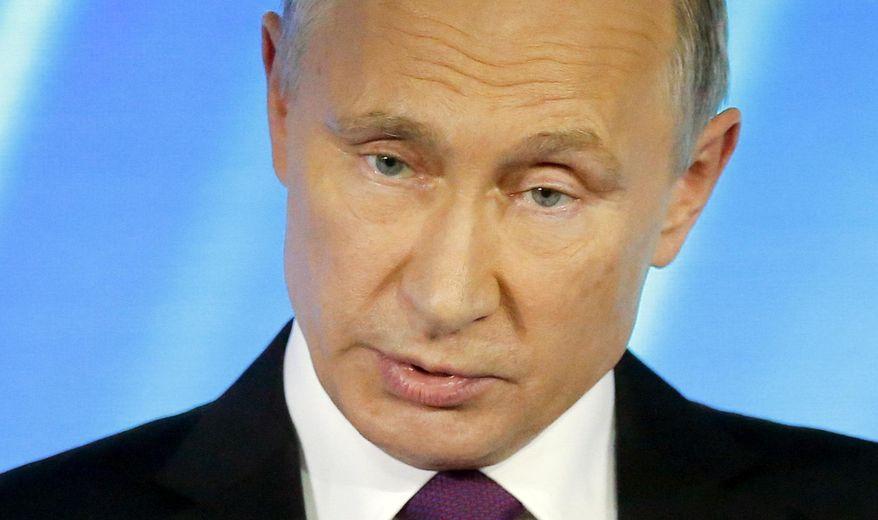 Russian President Vladimir Putin speaks at a meeting of the Valdai International Discussion Club in Sochi, Russia, on Thursday, Oct. 19, 2017. (AP Photo/Alexander Zemlianichenko, pool)