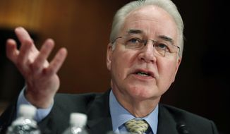 In this June 15, 2017, file photo, then-Health and Human Services Secretary Tom Price testifies on Capitol Hill in Washington, before a Senate Appropriations subcommittee hearing on the Health and Human Services Department's fiscal 2018 budget. (AP Photo/Manuel Balce Ceneta) ** FILE **