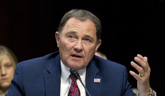 In this Sept. 7, 2017, file photo, Utah Gov. Gary Herbert speaks at a Senate Health, Education, Labor, and Pensions Committee hearing on Capitol Hill in Washington. (AP Photo/Jose Luis Magana, File)