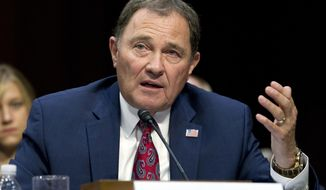 FILE - In this Sept. 7, 2017 file photo, Utah Gov. Gary Herbert speaks at a Senate Health, Education, Labor, and Pensions Committee hearing on Capitol Hill in Washington. Herbert is describing President Donald Trump's tenure so far as erratic and lamenting that he seems to focus on too many issues rather than honing in on the most important ones. The Republican governor made his comments about Trump's performance Thursday, Oct. 19 in Salt Lake City while responding to a question during his monthly news conference on KUED-TV. (AP Photo/Jose Luis Magana, File)
