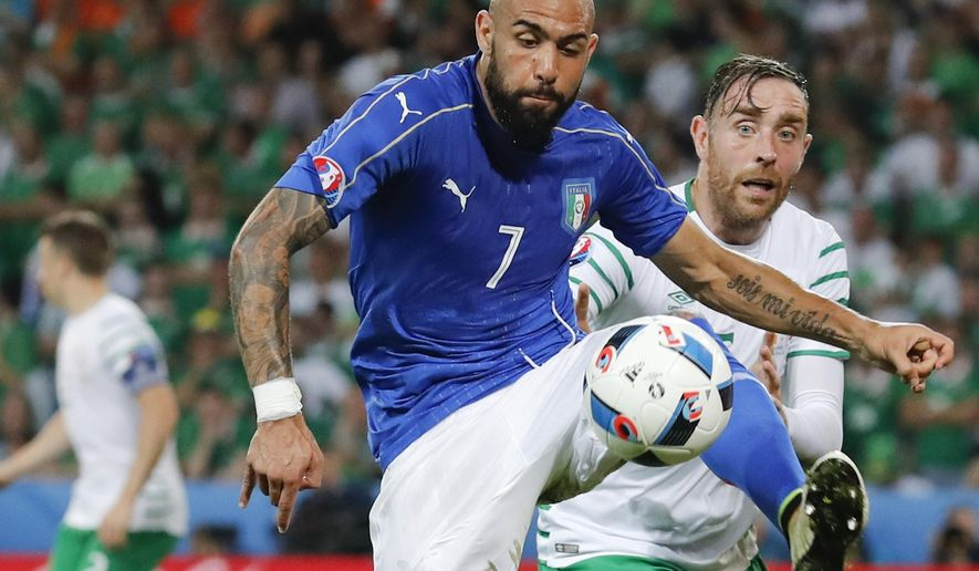 FILE - In this Wednesday, June 22, 2016 file photo, Italy's Simone Zaza goes for the ball during the Euro 2016 Group E soccer match between Italy and Ireland at the Pierre Mauroy stadium in Villeneuve d'Ascq, near Lille, France. Valencia chose to acquire the Italian striker after his loan from Juventus expired last season and he has been crucial in the team's surprising run to the top of the Spanish league. (AP Photo/Antonio Calanni, File)