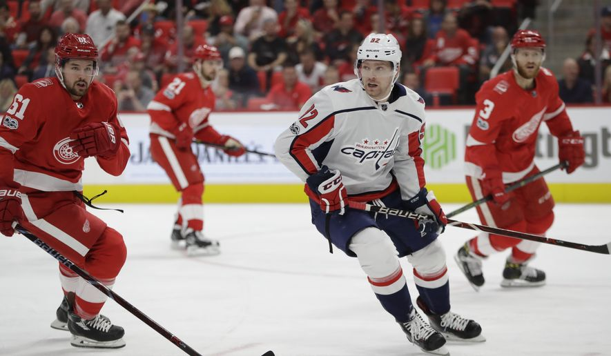 Washington Capitals center Evgeny Kuznetsov (92) skates during the first period of an NHL hockey game against the Detroit Red Wings, Friday, Oct. 20, 2017, in Detroit. (AP Photo/Carlos Osorio)
