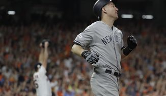 New York Yankees' Todd Frazier and Houston Astros starting pitcher Justin Verlander react after George Springer catches Frazier's long fly ball at the wall during the seventh inning of Game 6 of baseball's American League Championship Series Friday, Oct. 20, 2017, in Houston. (AP Photo/David J. Phillip)