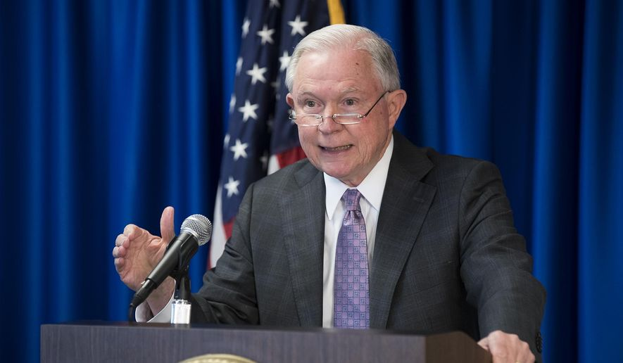 Attorney General Jeff Sessions speaks at the U.S. Attorney's Office for the Western District of Texas, Friday, Oct. 20, 2017, in Austin, Texas. (Ricardo B. Brazziell/Austin American-Statesman via AP)