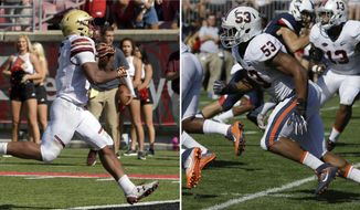 FILE - At left, in an Oct. 14, 2017, file photo, Boston College running back AJ Dillon (2) crosses the goal line to score during the second half of an NCAA college football game against Louisville, in Louisville, Ky. At right, in a Sept. 17, 2016, file photo, Virginia's Micah Kiser rushes against Connecticut in the first half of an NCAA college football game at Pratt & Whitney Stadium at Rentschler Field in East Hartford, Conn. Boston College College plays at Virginia on Saturday.  (AP Photo/File)