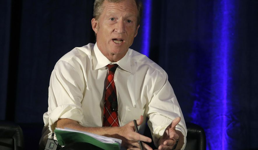 FILE - In this Oct. 7, 2015, file photo, billionaire environmentalist Tom Steyer discusses climate change at a symposium in Sacramento, Calif. Steyer is dumping at least $10 million into a national advertising campaign calling for President Donald Trump's impeachment. (AP Photo/Rich Pedroncelli, file)