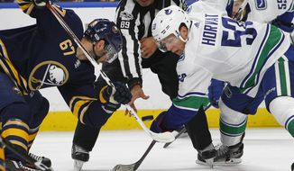 Buffalo Sabres forward Benoit Pouliot (67) and Vancouver Canucks forward Bo Horvat (53) take a draw during the first period of an NHL hockey game, Friday, Oct. 20, 2017, in Buffalo, N.Y. (AP Photo/Jeffrey T. Barnes)