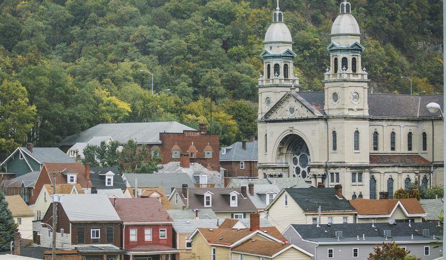 This Oct. 6, 2017, photo shows St. Mary's Catholic Church in Sharpsburg, Pa. (Andrew Rush/Pittsburgh Post-Gazette via AP)