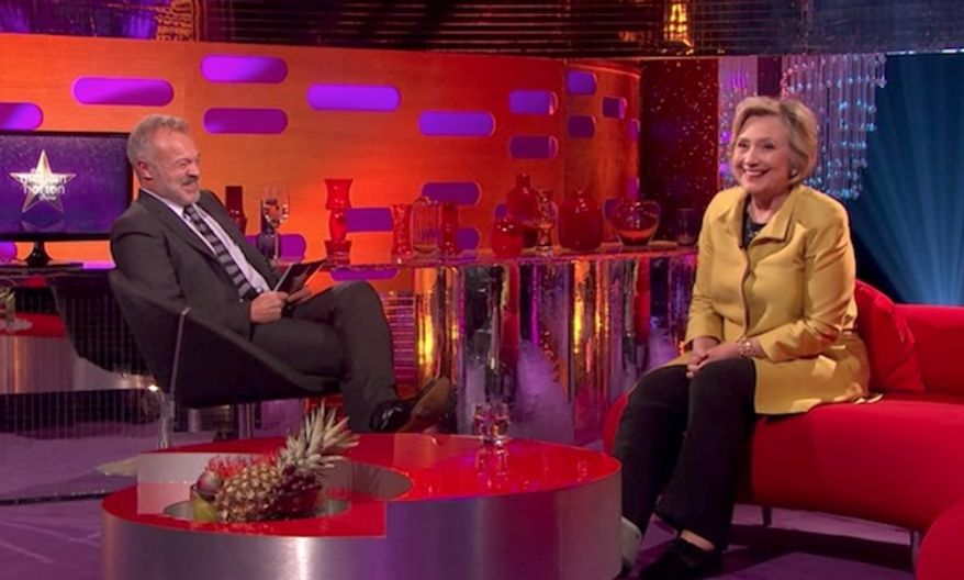 """Hillary Clinton admitted on BBC One's """"The Graham Norton Show"""" that she """"really tried to get out of going"""" to President Trump's inauguration. (BBC One)"""