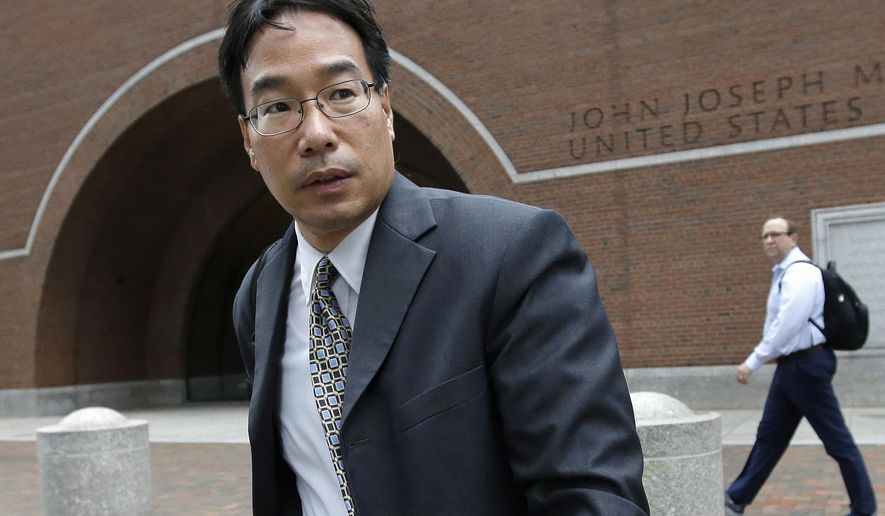 FILE - In this Sept. 19, 2017, file photo, Glenn Chin, supervisory pharmacist at the now-closed New England Compounding Center, leaves  federal court after attending the first day of his trial in Boston. Closing arguments are expected Thursday, Oct. 19. Chin is charged with second-degree murder and other crimes under federal racketeering law for his role in the 2012 fungal meningitis outbreak that killed 76 people and sickened hundreds of others. (AP Photo/Steven Senne, File)