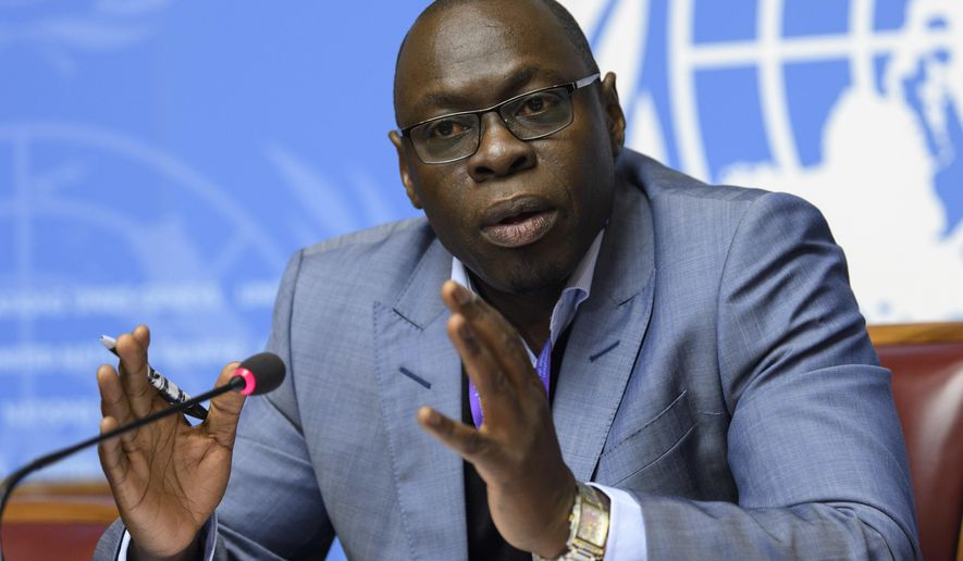 Ibrahima Soce Fall, Regional Emergency Director for Africa, of the World Health Organization, WHO, speaks during a press conference, about the Update on the plague situation in Madagascar, at the European headquarters of the United Nations in Geneva, Switzerland, Friday, Oct. 20, 2017. (Martial Trezzini/Keystone via AP)