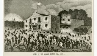 "This undated historical image courtesy of the Texas State Library and Archives Commission shows the drawing ""Siege of the Alamo, March 6th, 1836."" Texas Land Commissioner George P. Bush is overseeing a 7-year, $450 million revamp of the Alamo, where 189 independence fighters were killed in 1836. That includes restoration of historical structures and building a new museum and visitors' center. But some conservatives worry that the importance of the battle for the Alamo will be marginalized by ""political correctness,"" with the overhaul sanitizing less-desirable aspects of participants' history, including that some were slaveholders. (Courtesy of Texas State Library and Archives Commission via AP)"