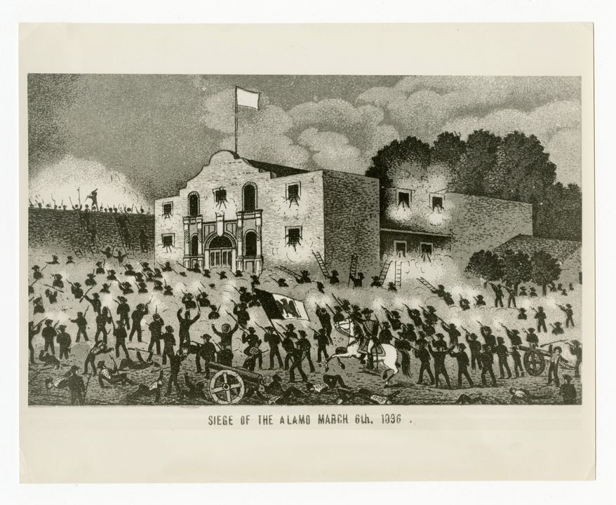 """This undated historical image courtesy of the Texas State Library and Archives Commission shows the drawing """"Siege of the Alamo, March 6th, 1836."""" Texas Land Commissioner George P. Bush is overseeing a 7-year, $450 million revamp of the Alamo, where 189 independence fighters were killed in 1836. That includes restoration of historical structures and building a new museum and visitors' center. But some conservatives worry that the importance of the battle for the Alamo will be marginalized by """"political correctness,"""" with the overhaul sanitizing less-desirable aspects of participants' history, including that some were slaveholders. (Courtesy of Texas State Library and Archives Commission via AP)"""