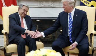 President Donald Trump shakes hands with UN Secretary General Antonio Guterres during a meeting in the Oval Office of the White House, Friday, Oct. 20, 2017, in Washington. (AP Photo/Evan Vucci)