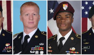 These images provided by the U.S. Army show, from left, Staff Sgt. Bryan C. Black, 35, of Puyallup, Wash.; Staff Sgt. Jeremiah W. Johnson, 39, of Springboro, Ohio; Sgt. La David Johnson of Miami Gardens, Fla.; and Staff Sgt. Dustin M. Wright, 29, of Lyons, Ga. All four were killed in Niger, when a joint patrol of American and Niger forces was ambushed by militants believed linked to the Islamic State group. (U.S. Army via AP)