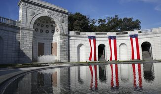 Women in Military Service for America Memorial in Arlington is seen in Arlington, Va., on Friday, Oct. 20, 2017. The memorial is located next to Arlington National Cemetery but is not part of the cemetery itself. The national memorial to military women is celebrating its 20th anniversary. (AP Photo/Jacquelyn Martin)