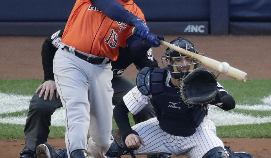 Houston Astros' Carlos Beltran hits a double during the second inning of Game 4 of baseball's American League Championship Series against the New York Yankees Tuesday, Oct. 17, 2017, in New York. (AP Photo/Frank Franklin II)