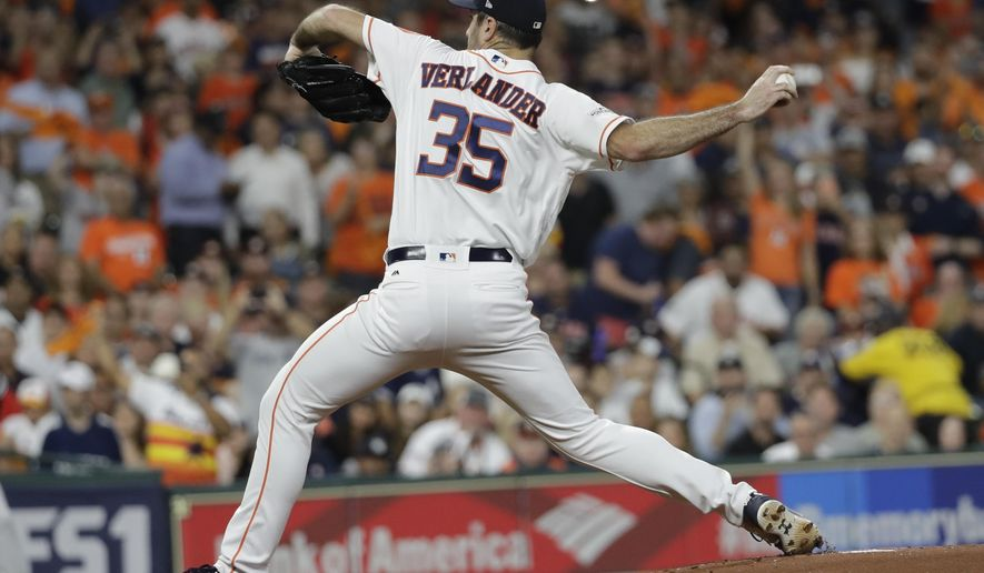 Houston Astros starting pitcher Justin Verlander throws during the first inning of Game 6 of baseball's American League Championship Series against the New York Yankees Friday, Oct. 20, 2017, in Houston. (AP Photo/David J. Phillip)