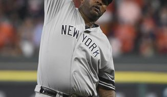 New York Yankees starting pitcher CC Sabathia stretches during the fourth inning of Game 7 of baseball's American League Championship Series against the Houston Astros Saturday, Oct. 21, 2017, in Houston. (AP Photo/Eric Christian Smith)