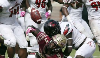 Florida State's Jacques Patrick fumbles the ball into the end zone where it was recovered by Florida State for a touchdown in the fourth quarter of an NCAA college football game with Louisville, Saturday, Oct. 21, 2017, in Tallahassee Fla. Louisville won 31-28. (AP Photo/Steve Cannon)